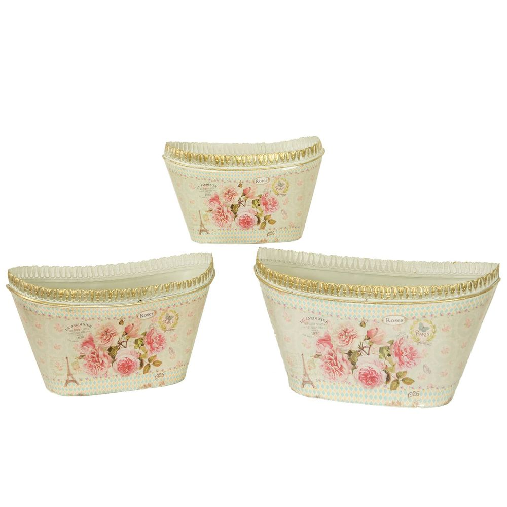 Dolce Mela DMMV693-S3 French Country Planters Oval Vintage Metal Decorative Vases & Flower Pots Mela - Set of 3