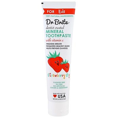 Dr. Brite 232136 4.2 oz Natural Fluoride-Free Mineral Toothpaste Strawberry