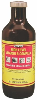 Durvet Inc High Level Vitamin B Complex- Yellow 250 Milliliter - 02 DFV2302