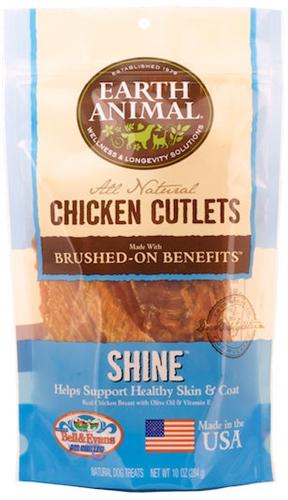 Earth Animal 857253003575 Shine Chicken Cutlet Treats 8 oz