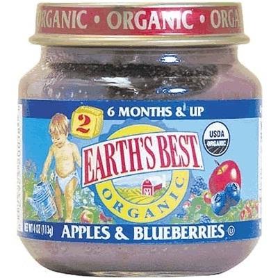 Earths Best Baby Foods BG12460 Earths Best Baby Foods Baby Apple-BluBerry - 12x4OZ