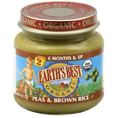 Earths Best Baby Foods BG12465 Earths Best Baby Foods Baby Peas-Brn Rice - 12x4OZ