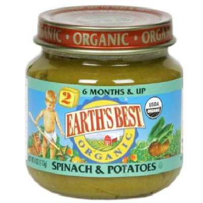 Earths Best Baby Foods BG12469 Earths Best Baby Foods Baby Spin-Potato - 12x4OZ