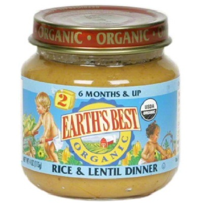 Earths Best Baby Foods BG12473 Earths Best Baby Foods Baby Rice-Lentil - 12x4OZ