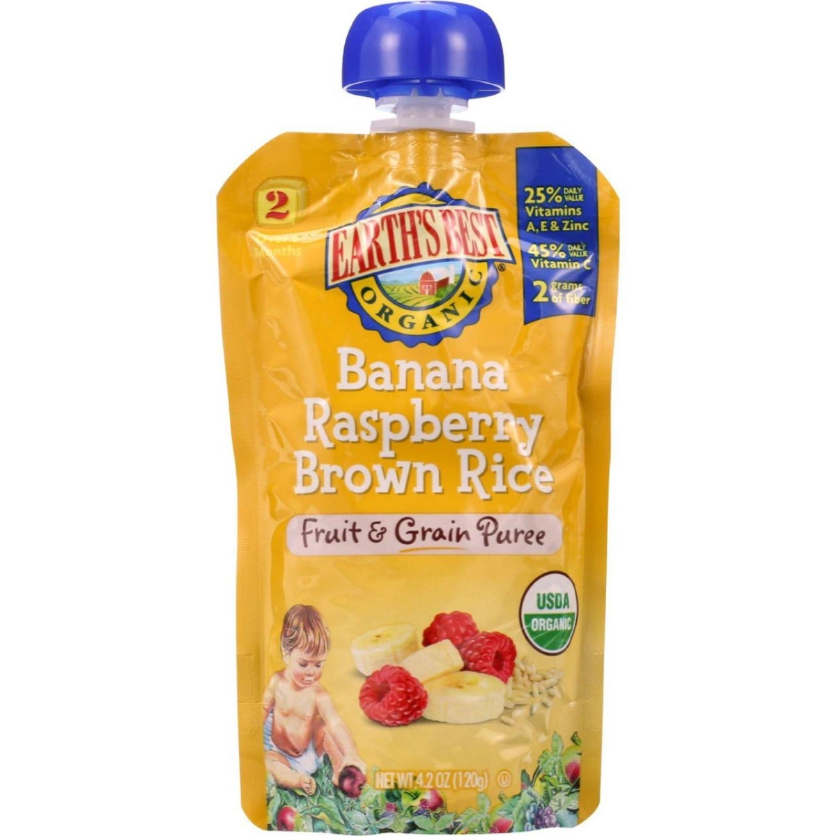 Earths Best HG1154863 4.2 oz Organic Fruit & Grain Puree Baby Food for Age 6 Months Plus Stage 2 - Banana Raspberry Brown Rice Case of 12