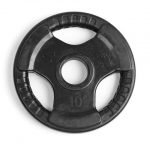 Element Fitness E-3762 2 in. Virgin Rubber Commercial Olympic 3 Grip Handle Plate - Black