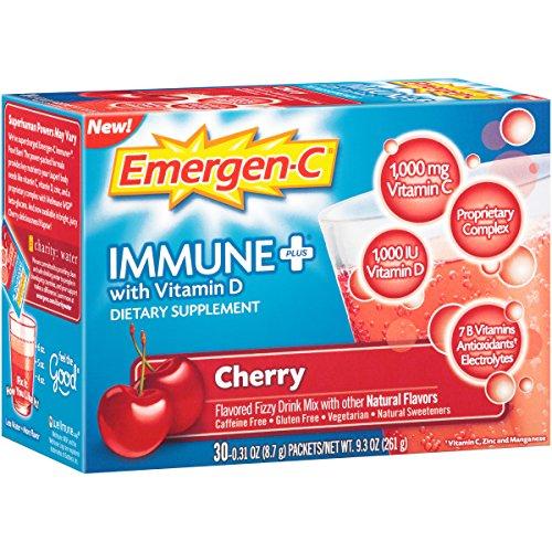 Emergen-C 2137859 Dietary Supplement Drink Mix with Vitamin D Cherry - 30 Pockets