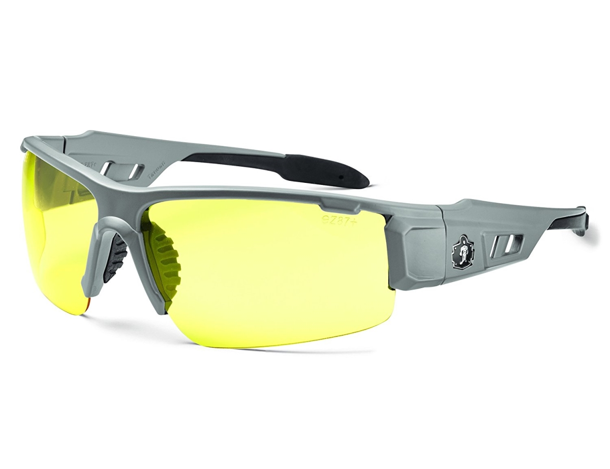 Ergodyne Corporation 52150 Skullerz Dagr Safety Glasses - Matte Gray Frame & yellow Lens Nylon