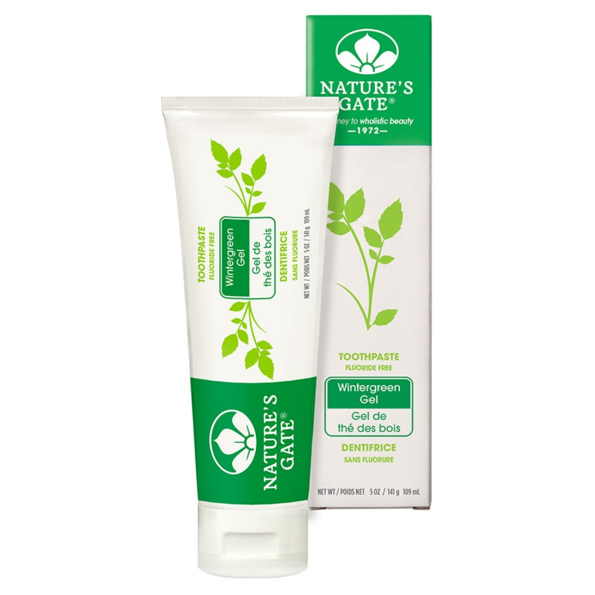 Frontier 219329 5 oz Natures Gate Wintergreen Fluoride Free Gel Toothpaste