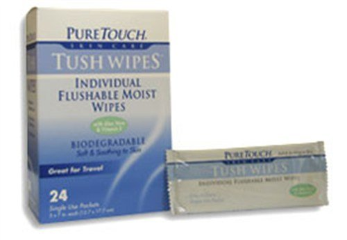 Frontier Natural Products 209011 Tush Wipes for Adults 24 Individual Flushable Moist Wipes