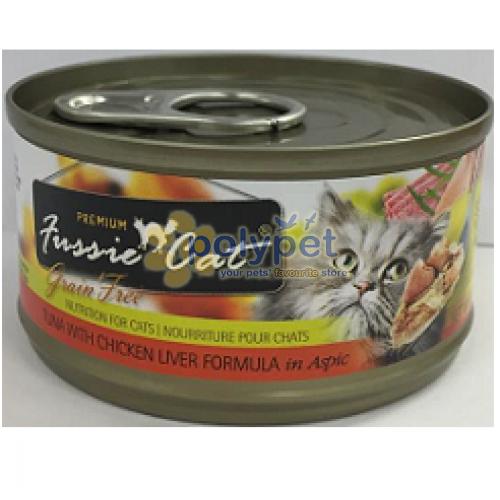 Fussie Cat 98313314 Premium Grain Free Tuna & Chicken Liver Canned Cat Food 2.82 oz - Pack of 24
