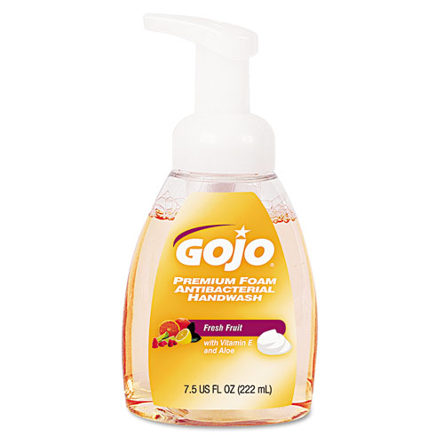 Go-Jo Industries 571006EA Premium Foam Antibacterial Hand Wash Fresh Fruit Scent 7.5oz Pump