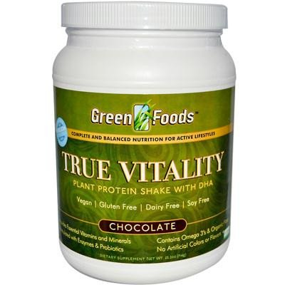 Green Foods 0928333 True Vitality Plant Protein Shake with DHA Chocolate 25.2 oz
