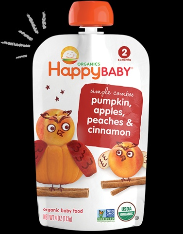Happy Tot 4 Ounce Fiber & Protein Organic Baby Food Apple Peach Pumpkin & Cinnamon