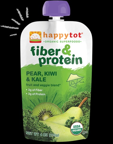 Happy Tot 4 Ounce Fiber & Protein Organic Baby Food- Pear Kiwi & Kale