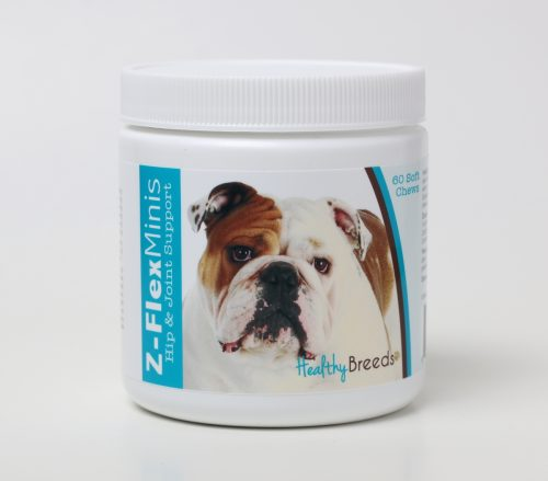 Healthy Breeds 840235104087 Bulldog Z-Flex Minis Hip & Joint Support Soft Chews 60 Count