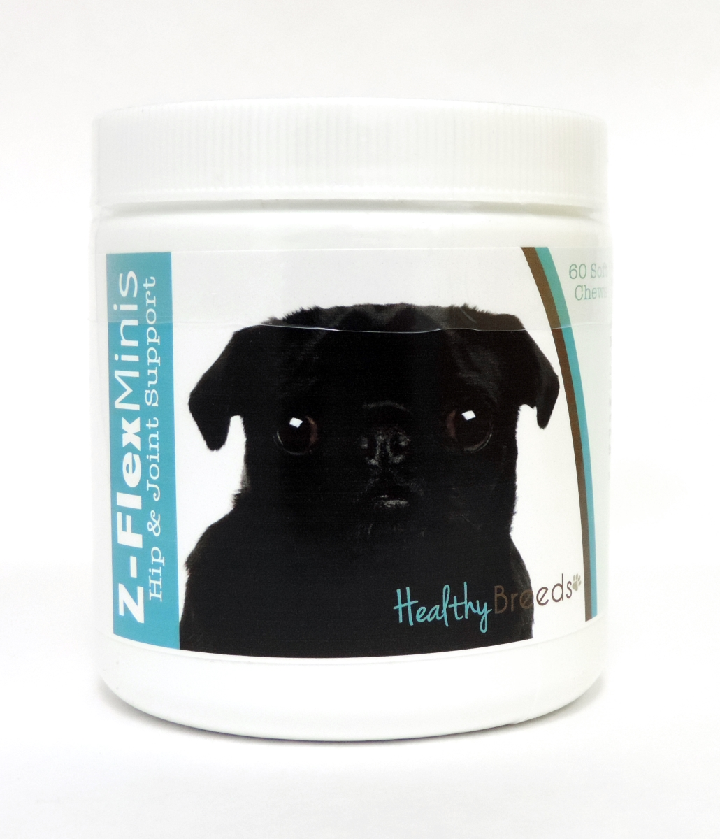 Healthy Breeds 840235113102 Pug Z-Flex Minis Hip & Joint Support Soft Chews - 60 Count