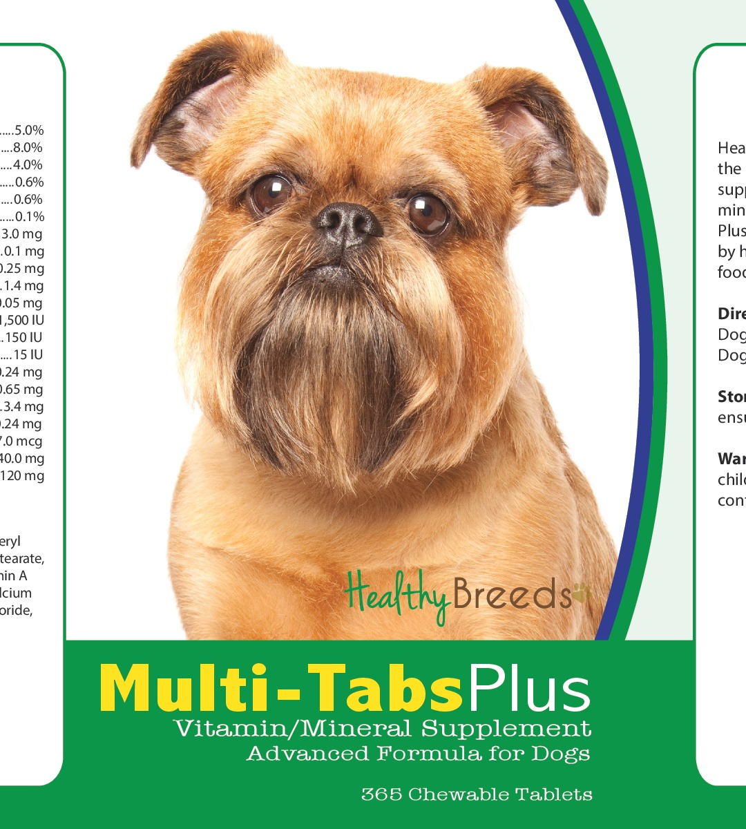Healthy Breeds 840235122746 Brussels Griffon Multi-Tabs Plus Chewable Tablets - 365 Count