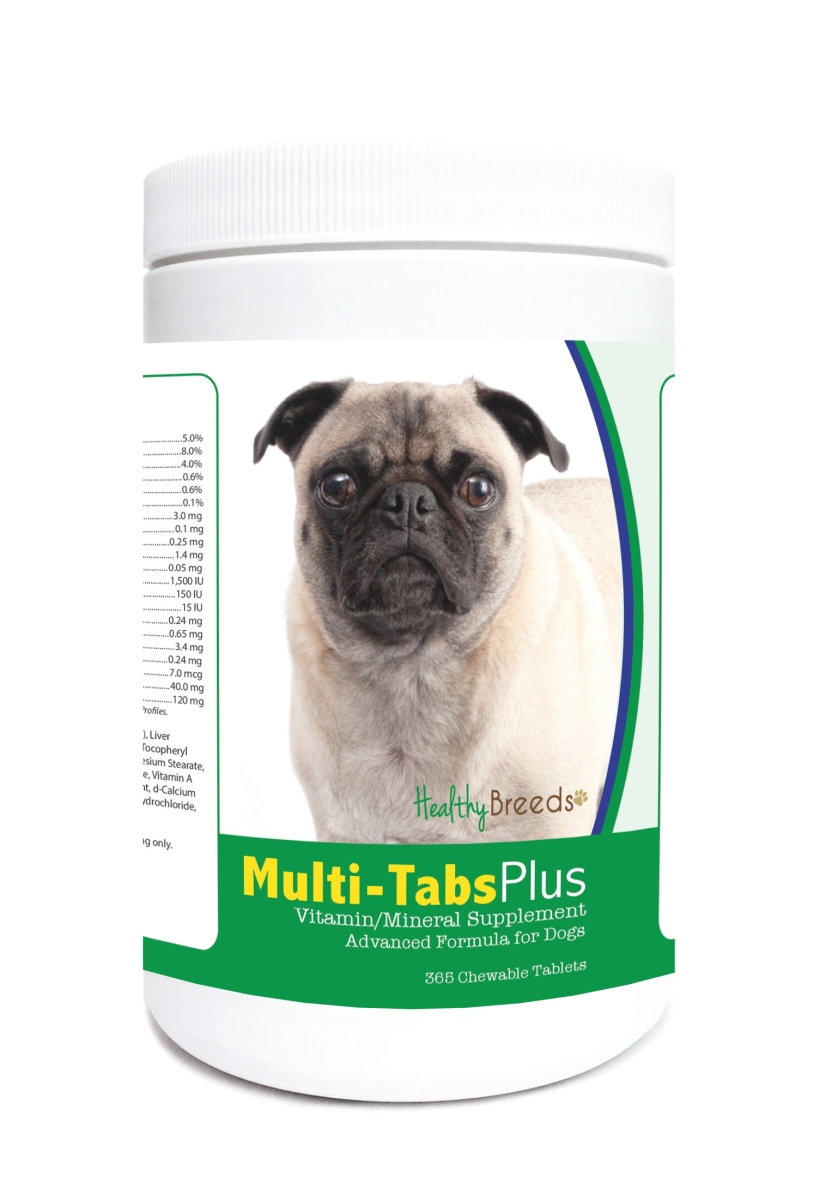 Healthy Breeds 840235123989 Pug Multi-Tabs Plus Chewable Tablets - 365 Count