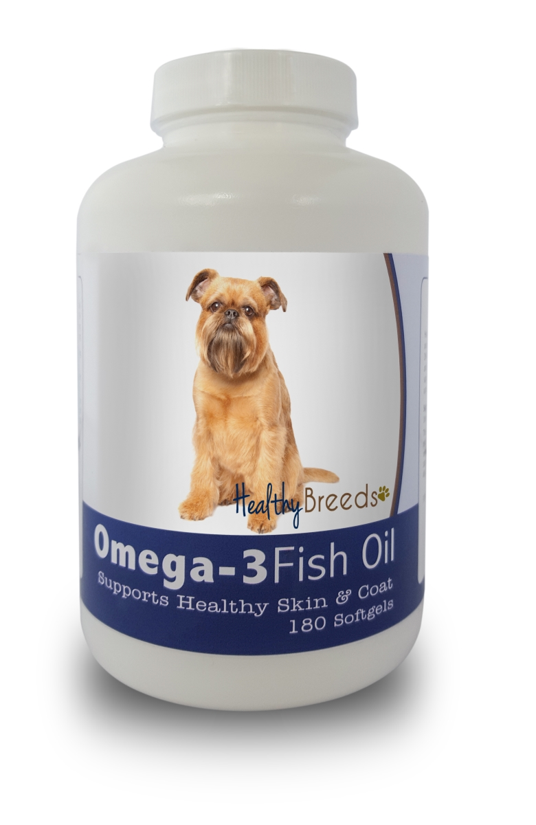 Healthy Breeds 840235141136 Brussels Griffon Omega-3 Fish Oil Softgels 180 Count