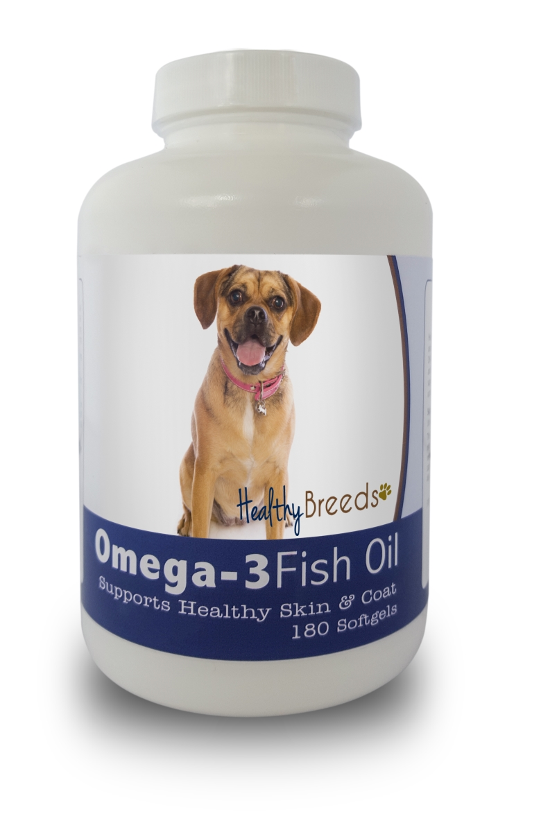 Healthy Breeds 840235141853 Puggle Omega-3 Fish Oil Softgels 180 Count