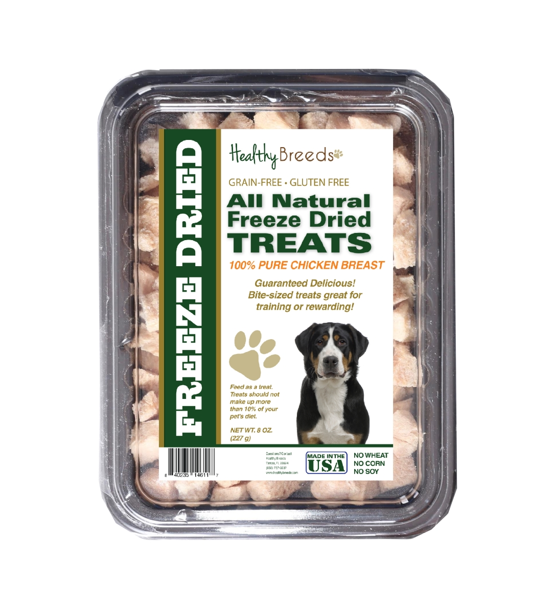 Healthy Breeds 840235146117 8 oz Greater Swiss Mountain Dog All Natural Freeze Dried Treats Chicken Breast