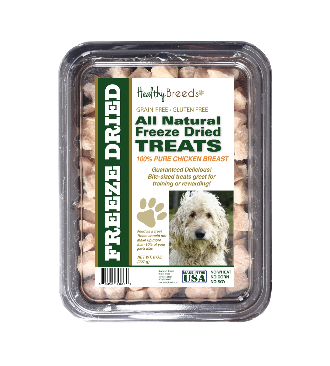Healthy Breeds 840235146179 8 oz Goldendoodle All Natural Freeze Dried Treats Chicken Breast