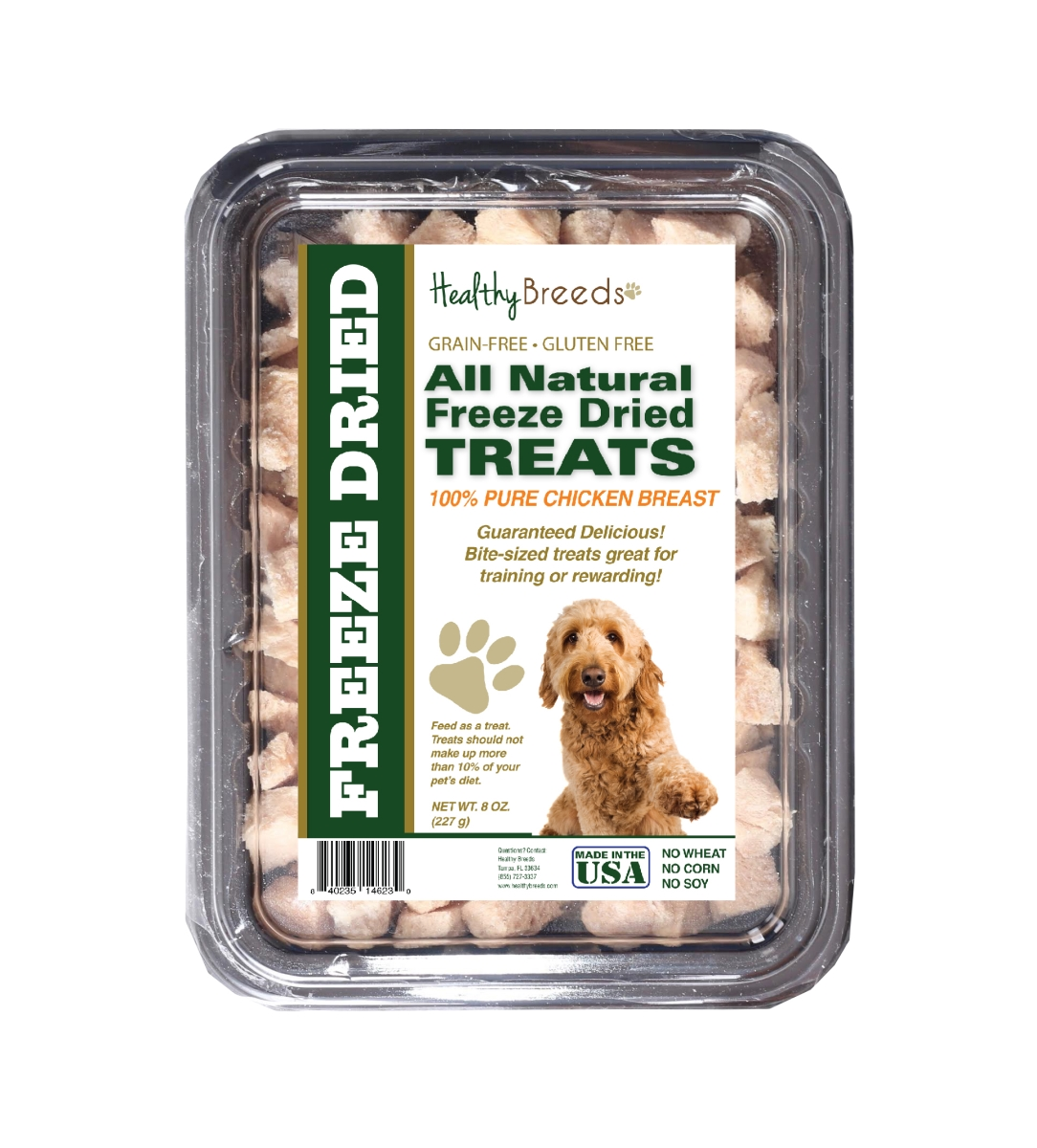 Healthy Breeds 840235146230 8 oz Goldendoodle All Natural Freeze Dried Treats Chicken Breast