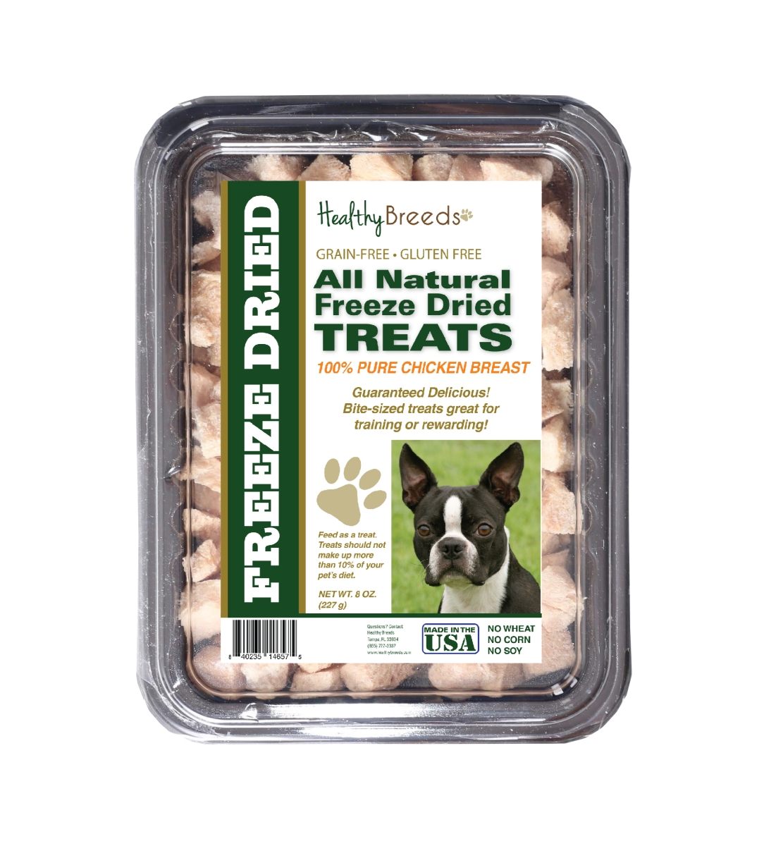 Healthy Breeds 840235146575 8 oz Boston Terrier All Natural Freeze Dried Treats Chicken Breast