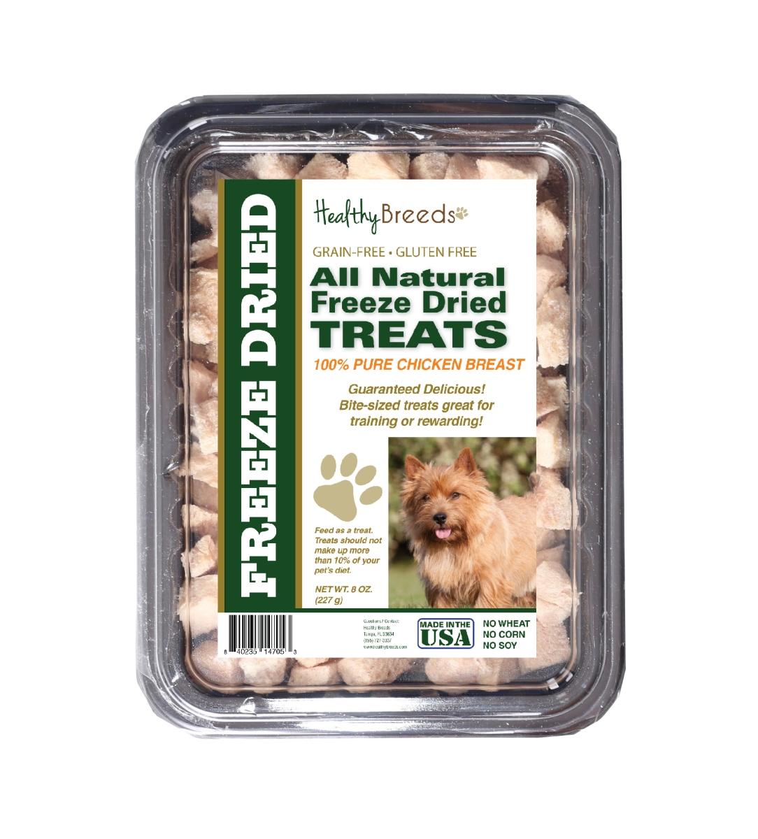 Healthy Breeds 840235147053 8 oz Norwich Terrier All Natural Freeze Dried Treats Chicken Breast