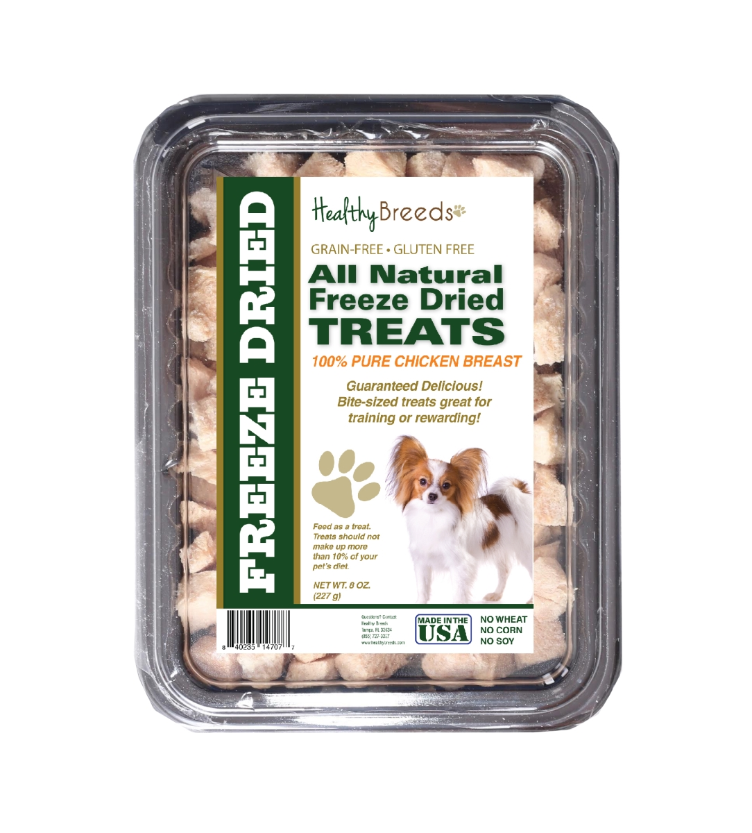 Healthy Breeds 840235147077 8 oz Papillon All Natural Freeze Dried Treats Chicken Breast