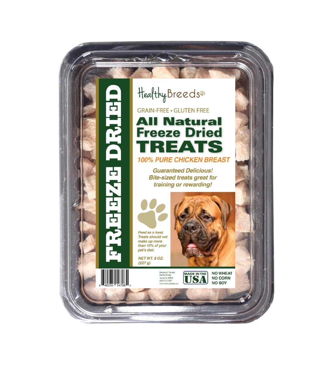 Healthy Breeds 840235147084 8 oz Bullmastiff All Natural Freeze Dried Treats Chicken Breast