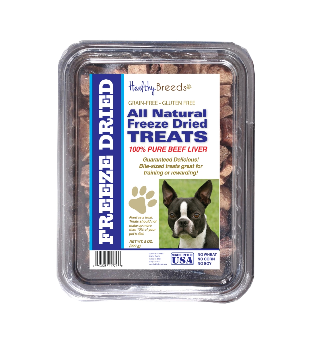 Healthy Breeds 840235147220 10 oz Boston Terrier All Natural Freeze Dried Treats Beef Liver