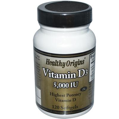 Healthy Origins 0922914 Vitamin D3 - 5000 IU - 120 Softgels