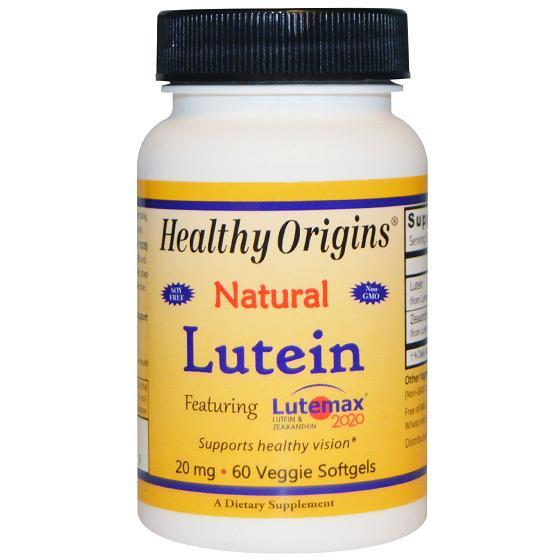 Healthy Origins ECW1794346 Lutein Natural Lutemax 2020 20 mg 60 Vegetarian Softgels