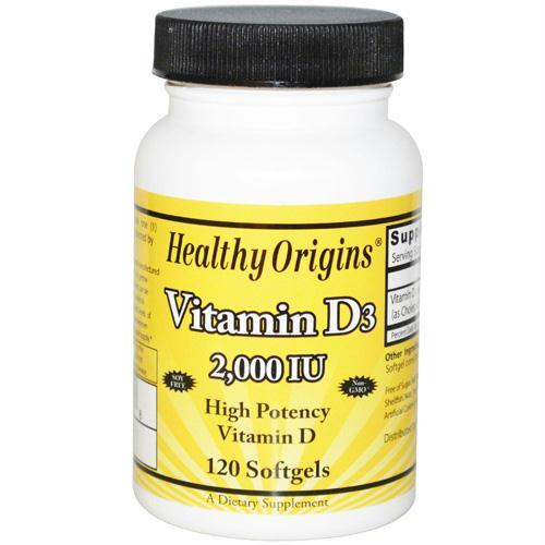 Healthy Origins Vitamin D3 - 2000 IU - 120 Softgels - 1510452
