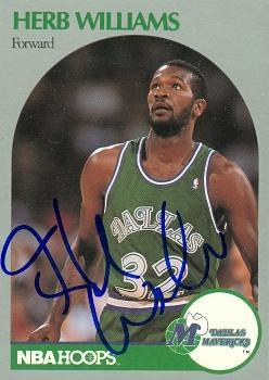 Herb Williams autographed Basketball Card (Dallas Mavericks) 1990 Hoops No.90