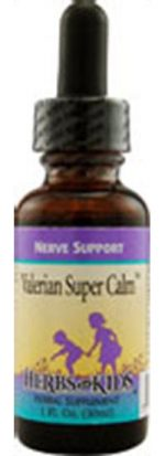 Herbs for Kids Nerve Support Formulas Alcohol-Free Valerian Super Calm 1 fl. oz. 41245
