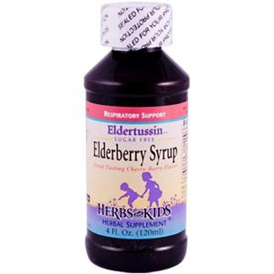 Herbs for Kids Respiratory Support Formulas Eldertussin Elderberry Syrup 4 fl. oz. Alcohol-Free 215412