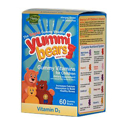 Hero Nutritional Products 0637876 Yummi Bears Gummy Vitamins for Children with VitaminD-3 - 60 Gummies