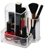 Home Basics MH49521 Clear Plastic Makeup Jewelry Organizer Tray - Brush Holder