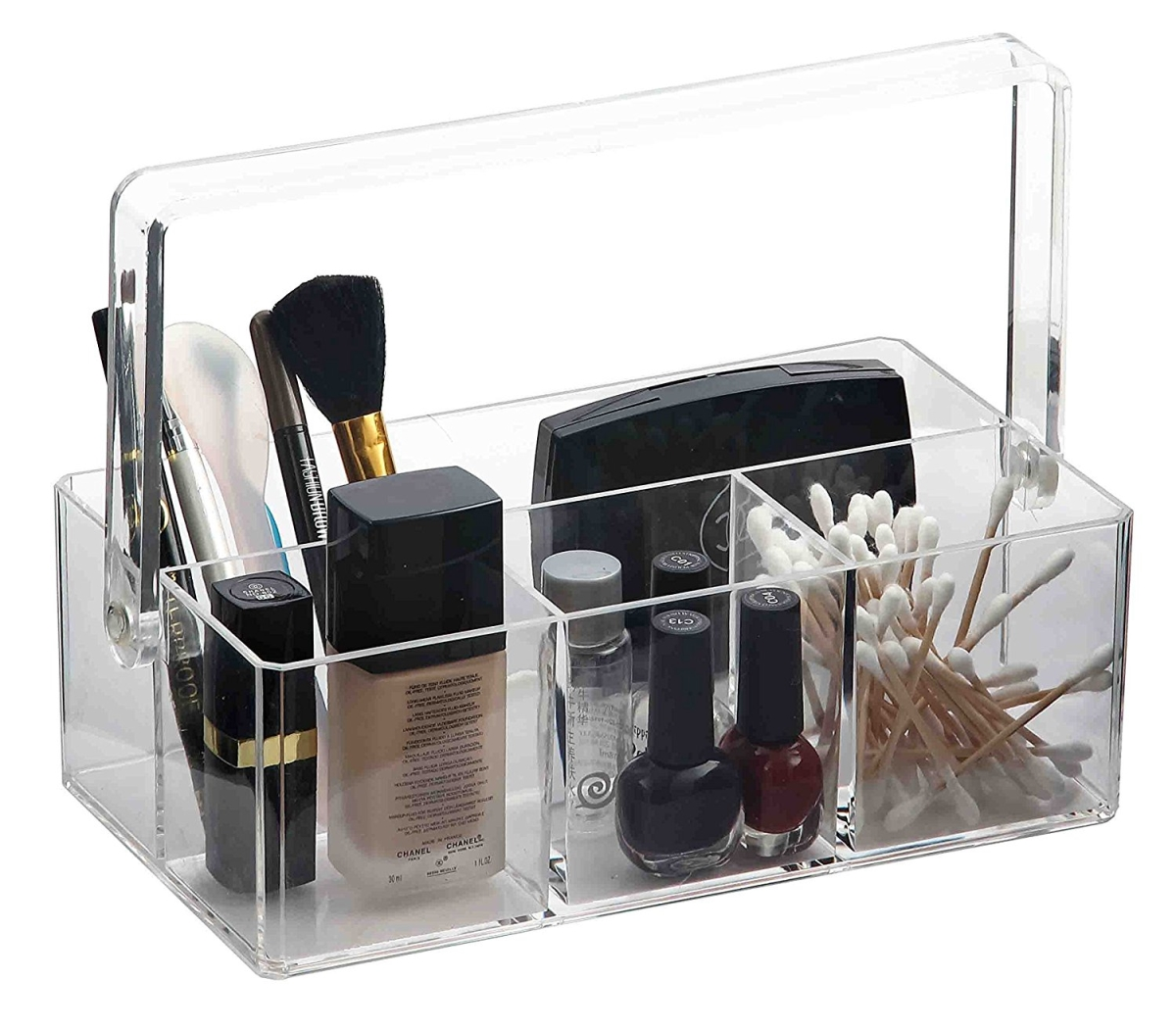Home Basics MH49523 Clear Plastic Makeup Jewelry Organizer Tray - Holder with Handle