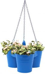 Houston International Trading 8117E B Enameled Galvanized Hanging 3 Planter Unit for 5.5 in. Plants Blue