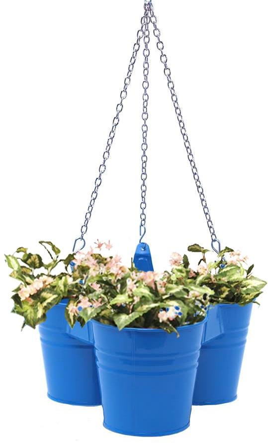 Houston International Trading 8117E B Enameled Galvanized Hanging 3 Planter Unit for 5.5 in. Plants Blue