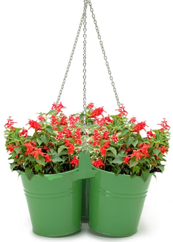 Houston International Trading 8117E SA Enameled Galvanized Hanging 3 Planter Unit for 5.5 in. Plants Sage