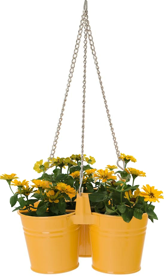 Houston International Trading 8117E SAFF Enameled Galvanized Hanging 3 Planter Unit for 5.5 in. Plants Saffron