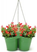 Houston International Trading 8118E SA Enameled Galvanized Hanging 3 Planter Unit for 6.5 in. Plants Sage
