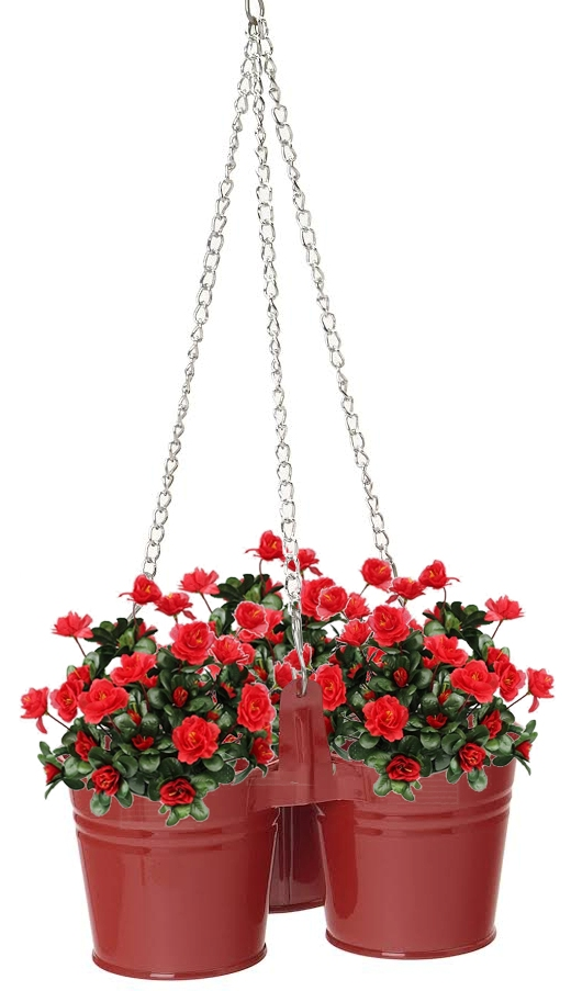 Houston International Trading 8118E XR Enameled Galvanized Hanging 3 Planter Unit for 6.5 in. Plants Red