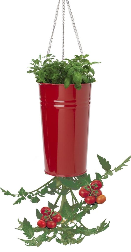 Houston International Trading 8398E XR Enameled Galvanized Upsidedown Tomato Pepper Hanging Planter - Red