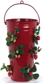 Houston International Trading 8491E XR Enameled Galvanized Strawberry & Flower Planter Red